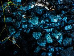 Leaves Amongst the Broken Glass (Steve Taylor (Photography)) Tags: glass chip shattered fragment digitalart brown blue green broken smashed newzealand nz southisland canterbury christchurch texture manchesterstreet