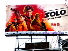 Solo A Star Wars Movie Billboard NYC 3006 (Brechtbug) Tags: solo a star wars movie billboard alden ehrenreich han donald glover lando calrissian joonas suotamo chewbacca woody harrelson tobias beckett may 2018 new york city portrait portraits eight story space opera film science fiction scifi robot metal man adventure galactic prototype design metropolis standee nyc poster billboards posters 34th st herald square ad ads advertisement advertisements 05242018