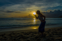 Kissing the Sun (michaelheiner) Tags: shadow beijo beso ngc sunset silhouette seascape sky ocean sea waves water beach clouds sun kiss hawaii honolulu oahu landscape