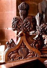 Berkswell, Warwickshire, St. John baptist, chancel, stalls, finial (groenling) Tags: berkswell warwickshire warcs england britain greatbritain gb uk stjohnbaptist chancel choir stalls wood carving woodcarving thompson finial ornament flower foliage
