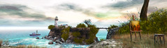 The View (Bellissa Dion) Tags: second life sl lighthouse ocean waves boat fishing sky clouds painting artist stool blue pink yellow green bush shrub shed azure orange grey gray sea horizon bridge