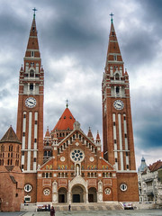 Votive Church and Cathedral of Our Lady of Hungary 053TMBrm (Andras Fulop) Tags: szeged hungary nikon p7700 church kirche cathedral tower