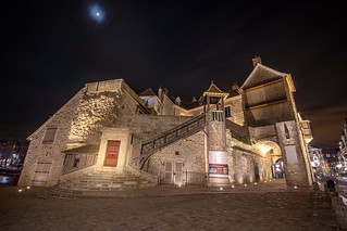 the magnificently restored La Lieutenance at night under a spring moon. Honfleur, Calvados, Normandy, France