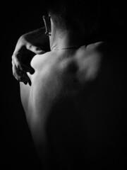 Tristesse (alexiscrozier1) Tags: noiretblanc bnw lowkey clairobscur nu nuartistique photographie art photographe démon mal homme man