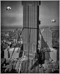 Urban Utopia has run afoul of any sanity: The Empire State Building was originally to be erected upside-down! These perversions of the commercial construction realm were known as 'groundscrapers'. (Fotofricassee) Tags: empire state building ties airplanes buildings architecture art deco king kong ape