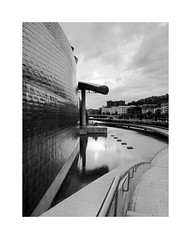 A masterpiece of the 20th c. 1 (2 Marvelous 4 Words (Blanca Gomez)) Tags: bilbao spain museum guggenheimmuseum museo arquitectura architecture building masterpiece artgallery arts workofart frankgehry thomaskrens bw blackwhite deconstructivism glass limestone titanium