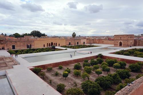 El Badii Palace garden and courtyard, Marrakech, Morroco