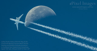Cathay Pacific Airbus A350-941 with contrails, crosses the Waning Crescent Moon (44.5%) over Brisbane Australia.