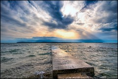 walk on water (TheOtherPerspective78) Tags: landscape landschaft sea seaside water waves holidays croatia istria fazana beach steg meer strand himmel clouds cloudscape sky evening sunset sundown abend sonnenuntergang outdoors jetty gangway light mood theotherperspective78 canon eosm6 wideangle efm1122