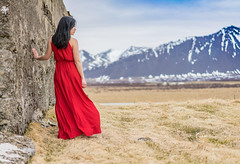 Red Dress (nt Kreations) Tags: red reddress sony portrait iceland wanderlust sonyalpha landscape snaefellsnes mountains icelandic lovelyred flowydress