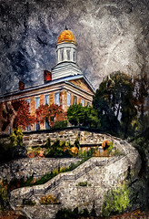 Upward (Terry Pellmar) Tags: texture digitalart digitalpainting ellicottcity church stairway stone