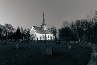 Øyestad kirke nighttime
