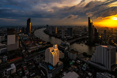 Sunset scence of Bangkok skyline Panorama and Skyscraper (MongkolChuewong) Tags: aerial apartment architecture asia bangkok bank bar blue building business chao chaoprayariver city cityscape condo condominium district downtown grass high hotel light mahanakhon mahanakon mahanakorn metropolis modern office phraya praya reflection residence river roof shadow sky skyline skyscrapers sunset thai thailand tower town travel urban vertical view water waterfront windows
