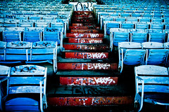 Out of Towner (Thomas Hawk) Tags: florida marinestadium miami miamimarinestadium usa unitedstates unitedstatesofamerica virginiakey abandoned chairs graffiti seating seats stairs fav10 fav25