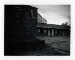 Urbandale, IL (moominsean) Tags: polaroid 190 instant fuji fp3000b illinois urbandale winter rain motel abandoned