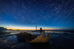 Ghost In The Shell (Justin Cameron) Tags: lightpainting longexposure blacknab saltwickbay shipwreck sunset whitby startrails samyang14mmf28 seascape admiralvontromp starscape canon5dmkiii stacking