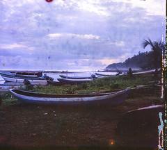 Guna Yala at Dusk (stefaniesmith1) Tags: canoes riverside shore dusk panama kuna gunayala tropical village film mediumformat 120 lubitel twinlens