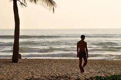 Starting the weekend (Roving I) Tags: guys barefeet swimmingtrunks sea surf sand beach palmtrees horizons sunrise exercise sihouettes outlines leisure lifestyle danang vietnam