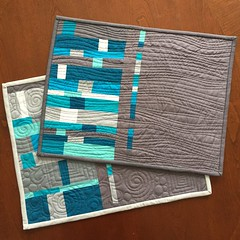 Modern improv quilted placemats (teaginny) Tags: placemats4mow placemat sewing charity freemotionquilting quilted quilt solids improv modern