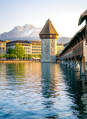 Spring time in Lucerne (mscgerber) Tags: lucerne swissphotofreaks switzerland workshop schweiz spring pilatus mountains mountain alps swiss water river bridge wood architecture landscape nikon nikonphotography nikond3400 colors colorful mood sunset goldenhour