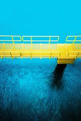 Cozumel (cranjam) Tags: lomo lca lomography film slide xpro expired kodak elitechrome100 mexico messico yucatán transcaribe cozumel giallo blue blu sea mare marcaraibico caribbeansea passerella bridge yellow