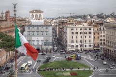 Piazza Venezia Rome (The Happy Snapping Dog Walker) Tags: piazzavenezia rome streetscene flag roma italy lazio urban roads traffic