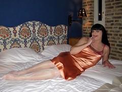 Sexy (Paula Satijn) Tags: sexy hot girl babe gurl tgirl tranny satin silk shiny bed nightie nightdress chemise sweet soft smooth silky orange white legs stockings foot feet smile happy sensual joy lipstick