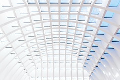 White cathedral (Maerten Prins) Tags: duitsland germany berlin berlijn up upshot grid roof ceiling lines curves blue sky sun shadow galeria high key white light line curve