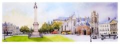Nantes - Pays de Loire - France (guymoll) Tags: googleearthstreetview croquis sketch aquarelle watercolour watercolor cathédrale ville city