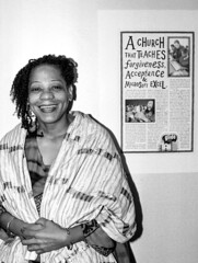 The Late Ntombi Howell  (1951 - 2003) (photographyguy) Tags: glide glidechurch ntombi recovery addiction woman passion glidememorialchurch methodist california church forgiveness smile bw filmphotography excel