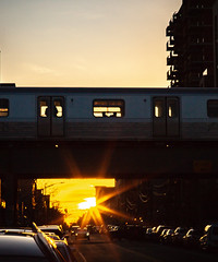 Brooklyn _  180426 _ 6813 (kevinbarry7) Tags: kmb kevinmichaelbarry photography brooklyn nyc newyorkcity city sun sunset urban street subway train