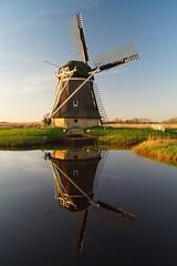 DSC08184 (omeharm) Tags: ryptsjerksterpolder molen mill reflectie reflection sky blue sunset holland dutch