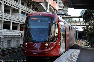 Sydney Light Rail - Urbos 3, LRV2116 - arrives at Convention stop on the L1