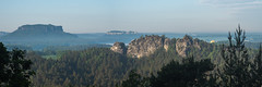 Morning on Bastei 1 (st333f) Tags: st333f nature lanscape green forest sunrise balloon hot air midst rock bastei germany sunny