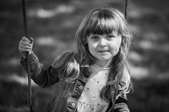 Cheeky Smile (jayneboo) Tags: norah bw mono portrait swing garden field home family granddaughter child happy