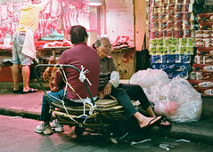 """""""friends"""" (hugo poon - one day in my life) Tags: rollei35s film fujicolorindustrial400 hongkong stonenullahlane wanchai market friends companions smile colours vanishing streetlife aged two"""