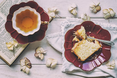 130/365: Everything is better with tea and cake (judi may) Tags: 365the2018edition 3652018 day130365 10may18 teaandcake teacup cupandsaucer plate flatlay fork food foodstyling cake lemondrizzlecake vintage vintagestyle matte soft softness stilllife book red canon7d 50mm