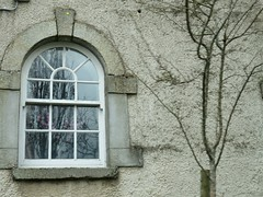 One of the windows of the Glencree Visitor Centre for the the Glencree Centre for Peace and Reconciliation (debstromquist) Tags: glencreecentreforpeaceandreconciliation glencree countywicklow ireland spring trees oldbuildings windows doorswindowsandsteps doorswindowsportalsgatesentryways doorswindowsproject