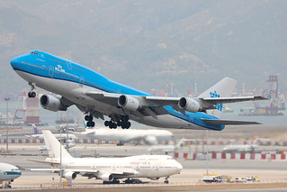 KLM B747-400M PH-BFT departing HKG/VHHH