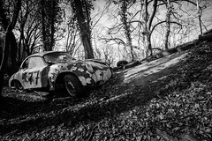Life in the fast lane (Dennis van Dijk) Tags: urbex ue eu europe germany urban exploration car cars classic bw blackandwhite black white vintage retro forest precious beauty moody rust lost found decay derelict abandoned rotten left behind american porsche oldtimer
