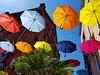 floating umbrellas (piotroginski) Tags: colorful umbrellas street grudziadz grudziądz umbrella floating colors parasole instalacje artystyczne niebo kolory s7edge samsung poland polska ulica