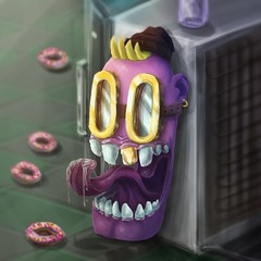 Donuts (Marcos D. Torres) Tags: indoor painting mural paint pintura pintor art artist draw drawing desenho design pen pencil marker spray spraycan paper doodle rabisco rascunho exercise sketch sketchbook caderno outdoor black white yellow orange purple blue red green colorfull pb bw wood glass metal face portrait type letter typography profile hand skull animal graffiti grafite human model photography character mood digital burning donuts winter mountains rain warm jekyll hyde remake eye worgen blizzard dinosaur rich oldman old man
