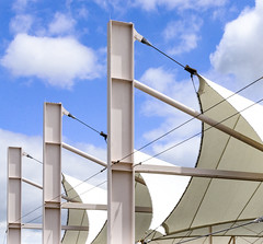Bus Terminal Roof (photographyguy) Tags: busterminal tent shreveport louisiana sky clouds sportran transportation