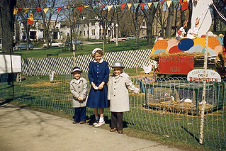 Kodachrome Slide of Kids at Easter Display, 1950s