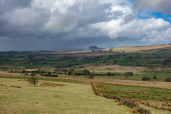 View to Slemish (Eskling) Tags: slemish coantrim northern ireland fields stonewall clouds shower weather