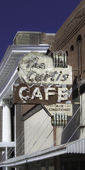 The Curtis Cafe (unknown quantity) Tags: neonsign fadedpaint fadedlettering rust shadows neglect sky deterioration oxidation weathered