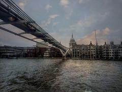London via the Thames (Lee-Anne Evans) Tags: boattrip london uk stpaulscathedral bridge thames water clouds sonysmartphone hdr millenniumbridge flickr