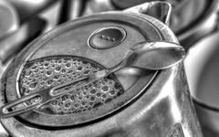 watched pot (DeZ - photolores) Tags: monochrome bw blackandwhite bnw spoon electricpot hdr nikon nikond610 tamron90mmf28 dez