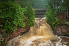 Lower Falls with Horton bridge (susannevonschroeder) Tags: wisconsin fog summer waterfall longexposure statepark bridge