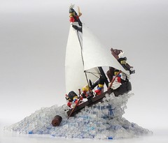Through the Waters and Over the Waves (Robert4168/Garmadon) Tags: water waves corrington corries soldiers sloop boat transclear barrel breth captain braunsfeld lego